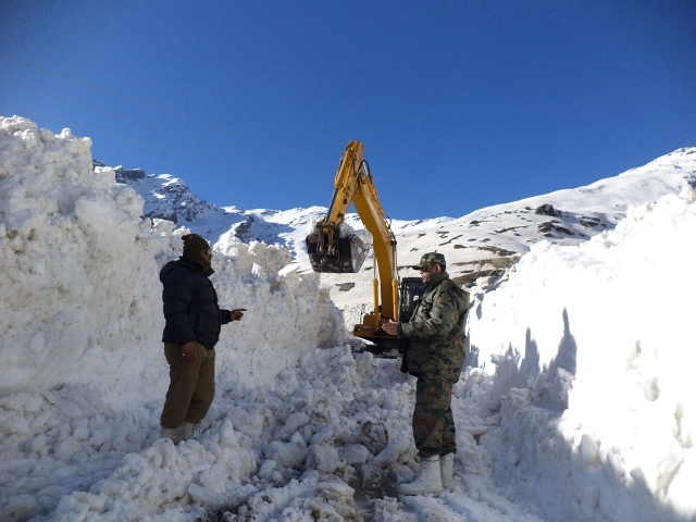 File Photo: Snow Clearing Operations Atop Rohtang Pass; Pic by Sanjay Datta