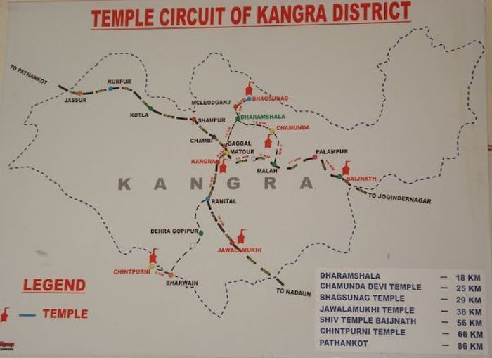 Distance to Brijeshwari Devi temple from Kangra